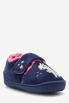 Navy Dinosaur Cupsole Slippers (Younger)