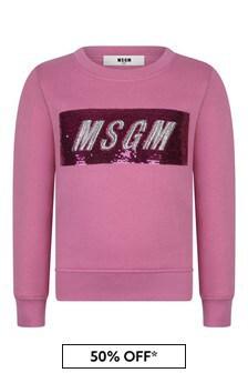 Girls Pink Cotton Sequin Logo Sweatshirt