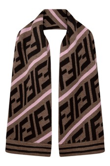 Girls Brown/Pink Wool Logo Scarf