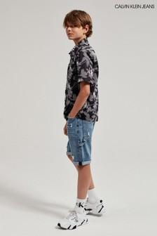 Calvin Klein Jeans Black Tropical Short Sleeve Shirt