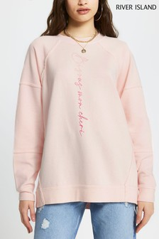 River Island Pink Open Seam Embroidered Washed Sweat Top