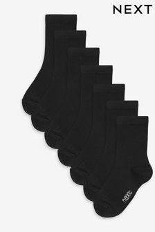 Black 7 Pack Bamboo Rich Socks