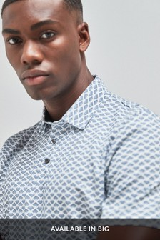 White Regular Fit Geometric Print Polo