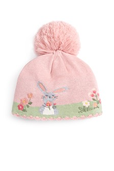 Pink Character Pom Hat (0mths-2yrs)