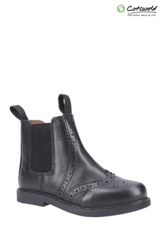 Cotswold Black Nympsfield Kids Brogue Pull-On Chelsea Boots