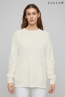 Jigsaw Cream Textured Stitch Slouchy Jumper