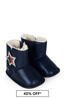 Baby Girls Navy Pre-Walker Booties