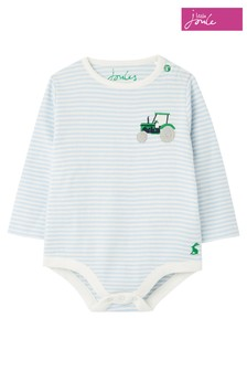 Joules Blue Snazzy Luxe Rib Embroidered Bodysuit