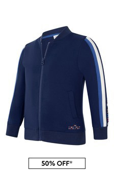 Boys Navy Milano Zip Up Top