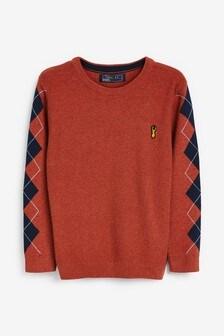 Argyle Pattern Sleeve Jumper (3-16yrs)