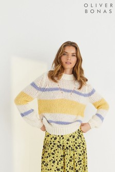 Oliver Bonas Cream Stripe Chunky Knitted Jumper