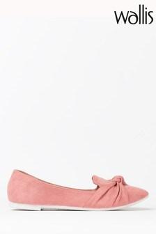 Wallis Barcelona Pink Knot Detail Point Ballerinas
