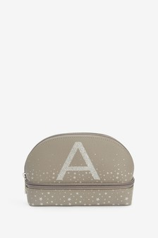Grey Initial Cosmetic Bag