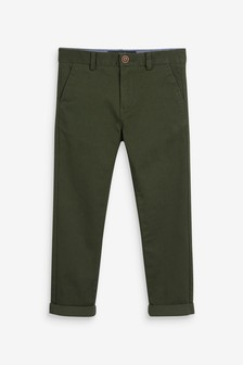 Khaki/Green Slim Fit Stretch Chino Trousers (3-16yrs)
