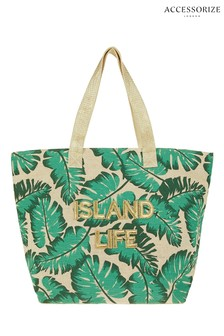 Accessorize Green Island Life Palm Tote