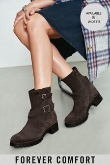 Brown Forever Comfort® Biker Boots