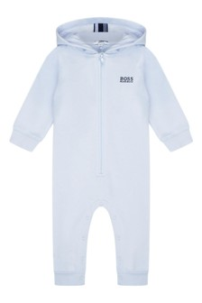 Baby Boys Pale Blue Cotton Hooded All-In-One