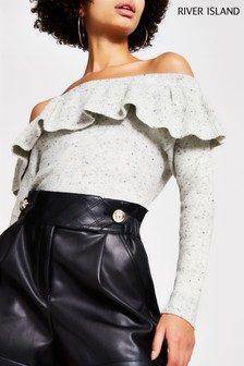 River Island Grey Off The Shoulder Neppy Bardot Top