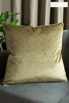 Florence Embossed Geo Luxe Velvet Cushion by Riva Home