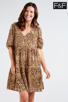 F&F Multi Brown Animal Tiered Mini Dress