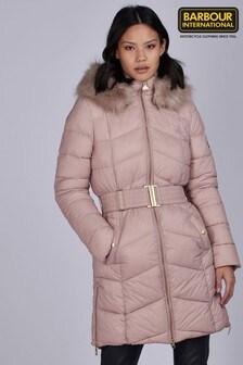 Barbour® International Longline Faux Fur Trim Padded Match Jacket