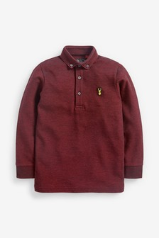 Berry Long Sleeve Pique Poloshirt (3-16yrs)