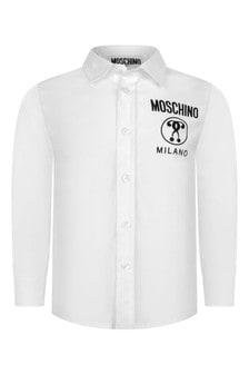 Baby Boys White Cotton Logo Shirt