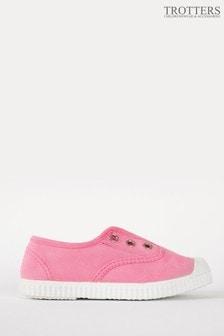 Trotters London Pink Plum Canvas Shoes
