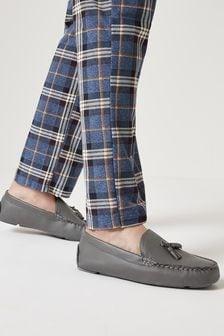 Grey Tassel Moccasin Slippers