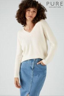 Pure Collection White Cashmere Lofty V-Neck Sweatshirt