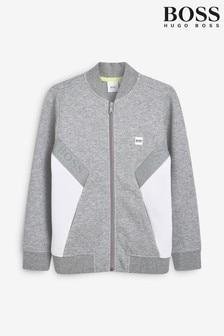 BOSS Grey Zip Up Sweatshirt