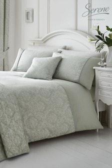 Laurent Damask Jacquard Duvet Cover And Pillowcase Set by Serene