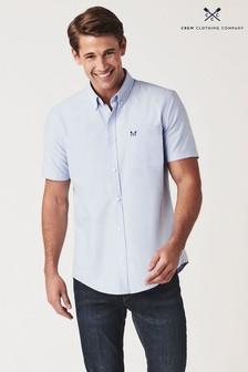 Crew Clothing Company Blue Short Sleeve Oxford Shirt