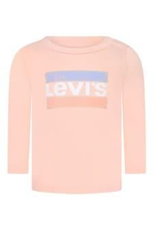 Baby Girls Peach Cotton Long Sleeve Logo T-Shirt