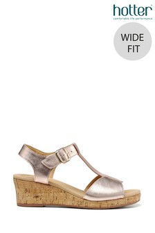 Hotter Gold Martinique Wide Fit Buckle Fastening Wedge Sandals
