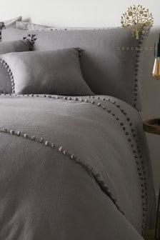 Appletree Paignton Pom Pom Brushed Cotton Duvet Cover and Pillowcase Set