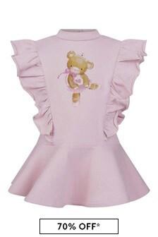 Baby Girls Pink Cotton Teddy Bear Dress