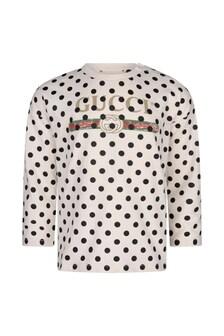 GUCCI Kids Baby White Cotton Polka Dots Vintage Logo T-Shirt