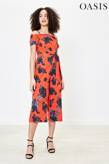 Oasis Orange Floral Bardot Jumpsuit