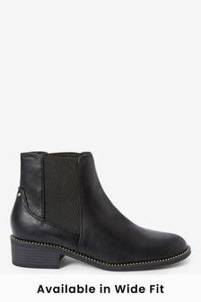Black Forever Comfort® Stud Detail Chelsea Boots