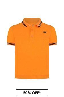 Boys Orange Cotton Pique Polo Top