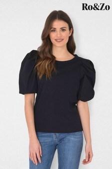 Ro&Zo Black Cotton Puff Sleeve T-Shirt