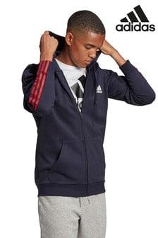 adidas 3 Stripe Essential Zip Through Hoodie