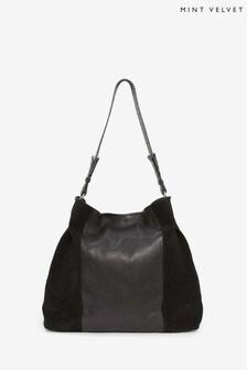 Mint Velvet Jane Black Stud Shoulder Bag