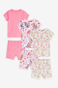 Pink 3 Pack Ditsy Floral Print Cotton Short Pyjamas (9mths-8yrs)