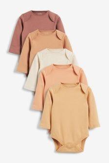 Tan 5 Pack Long Sleeve Bodysuits (0mths-3yrs)