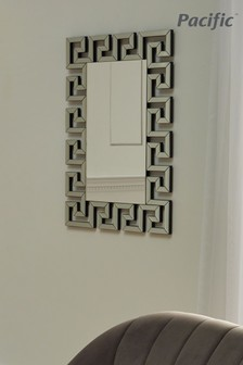 Silver Mirrored Glass Oblong Wall Mirror by Pacific Lifestyle