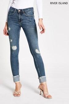 River Island Denim Medium Amelie Mid Rise Eubank Jeans