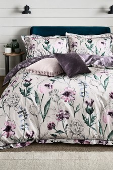 Cotton Sateen Reversible Plum Floral Duvet Cover And Pillowcase Set