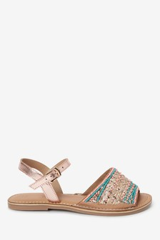 Multi Leather Peep Toe Sandals